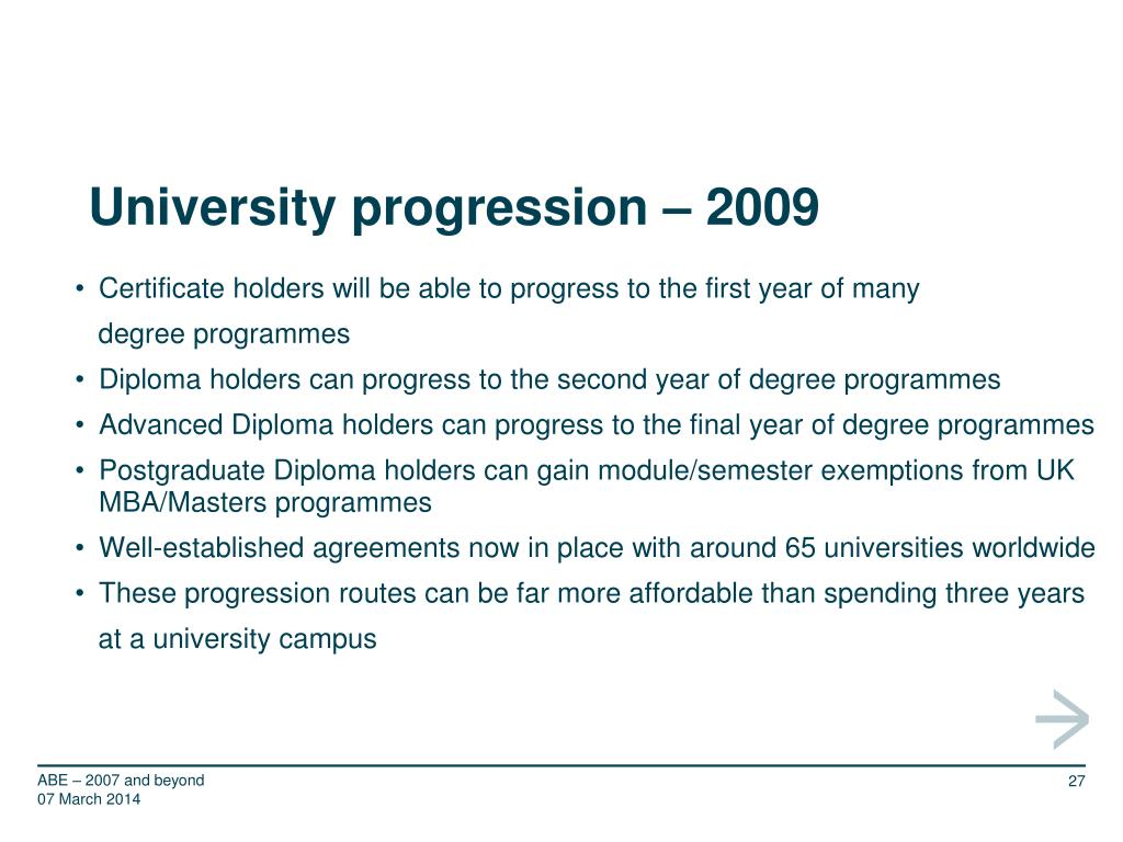 University progression – 2009
