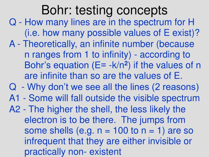 Bohr: testing concepts
