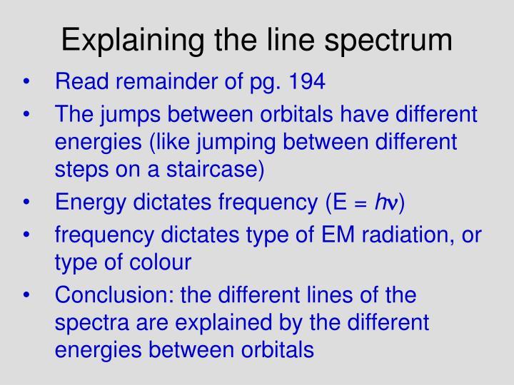 Explaining the line spectrum