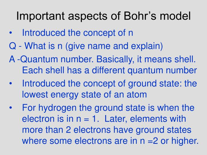 Important aspects of Bohr's model