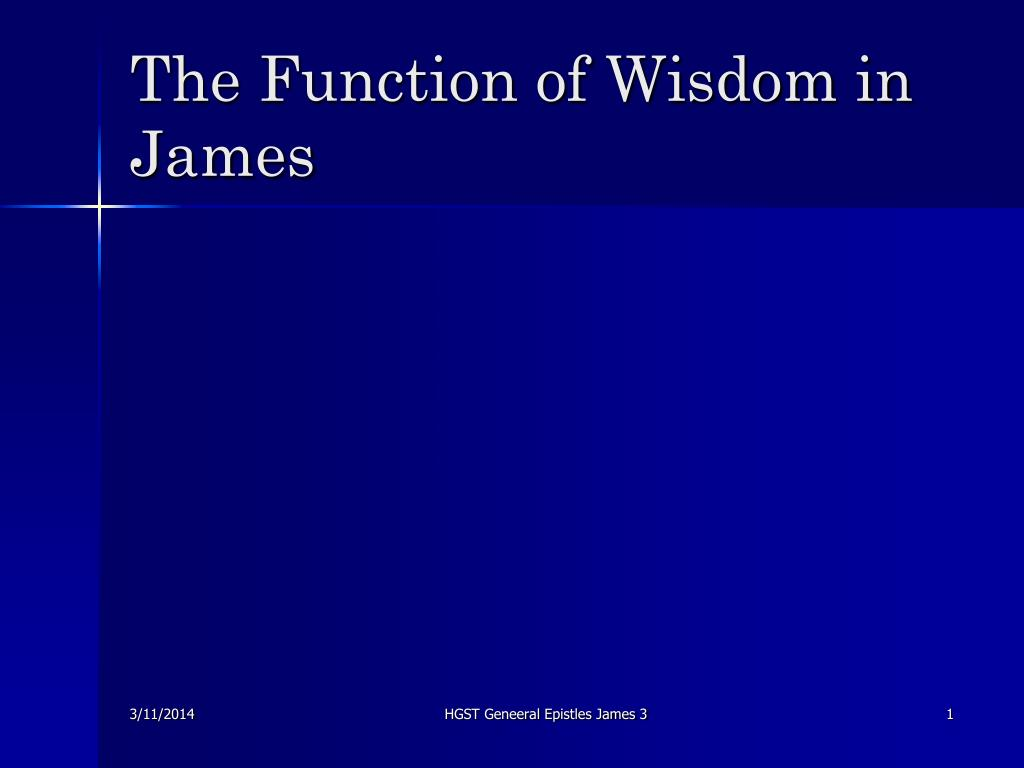 the function of wisdom in james l.