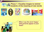 phase 1 visualise images to remind students of the meaning of new words