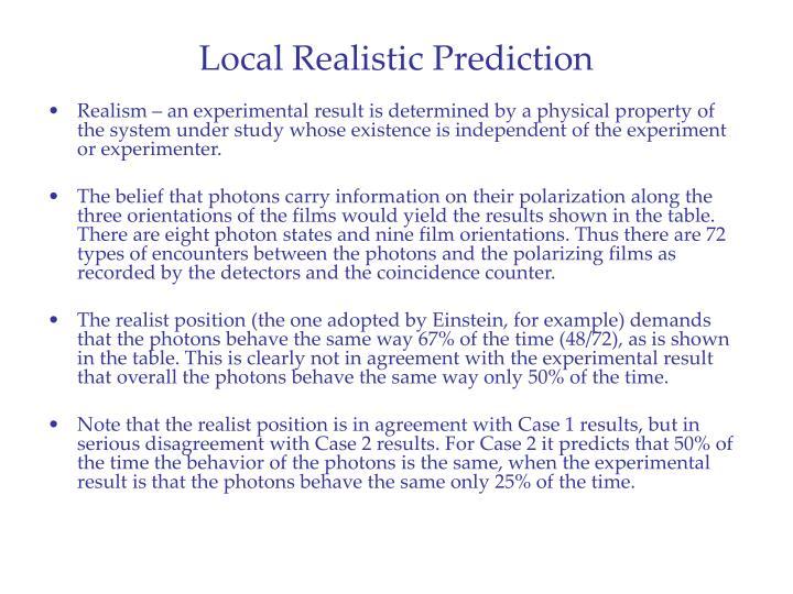 Local Realistic Prediction