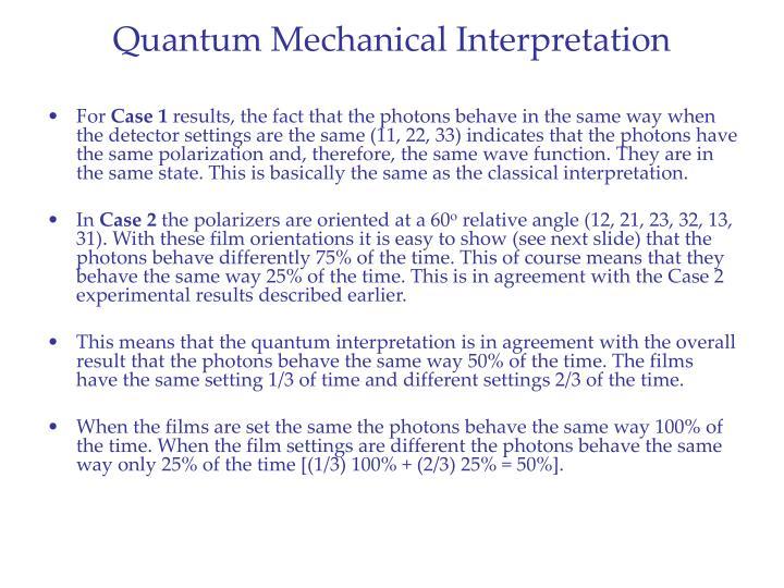 Quantum Mechanical Interpretation