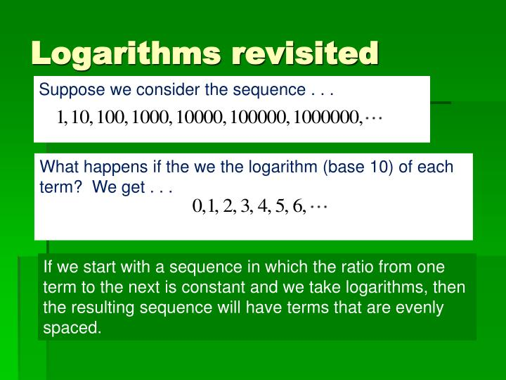 Logarithms revisited