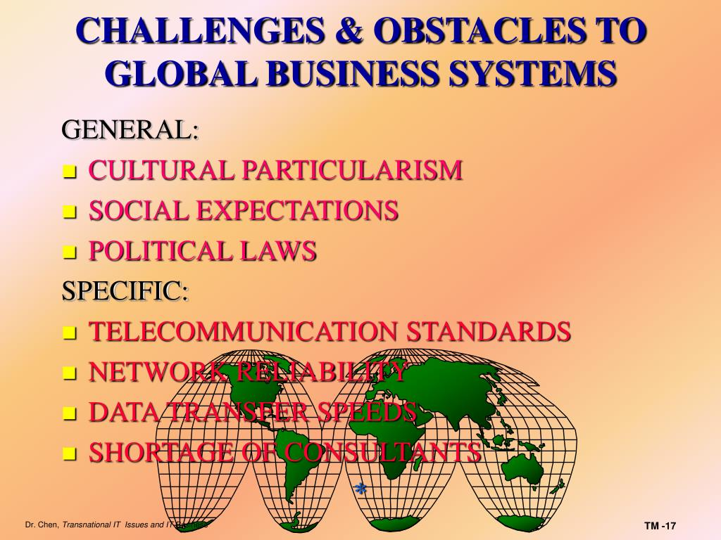 CHALLENGES & OBSTACLES TO GLOBAL BUSINESS SYSTEMS