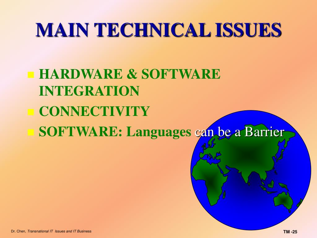MAIN TECHNICAL ISSUES