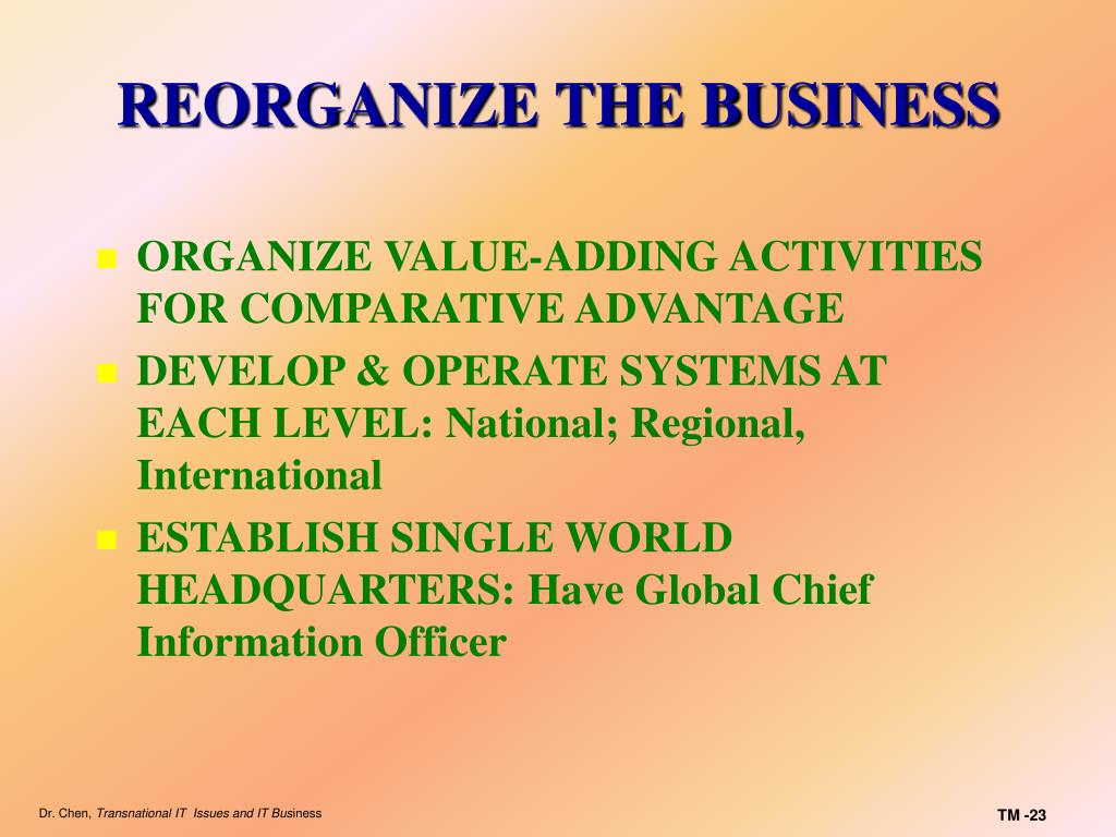 REORGANIZE THE BUSINESS