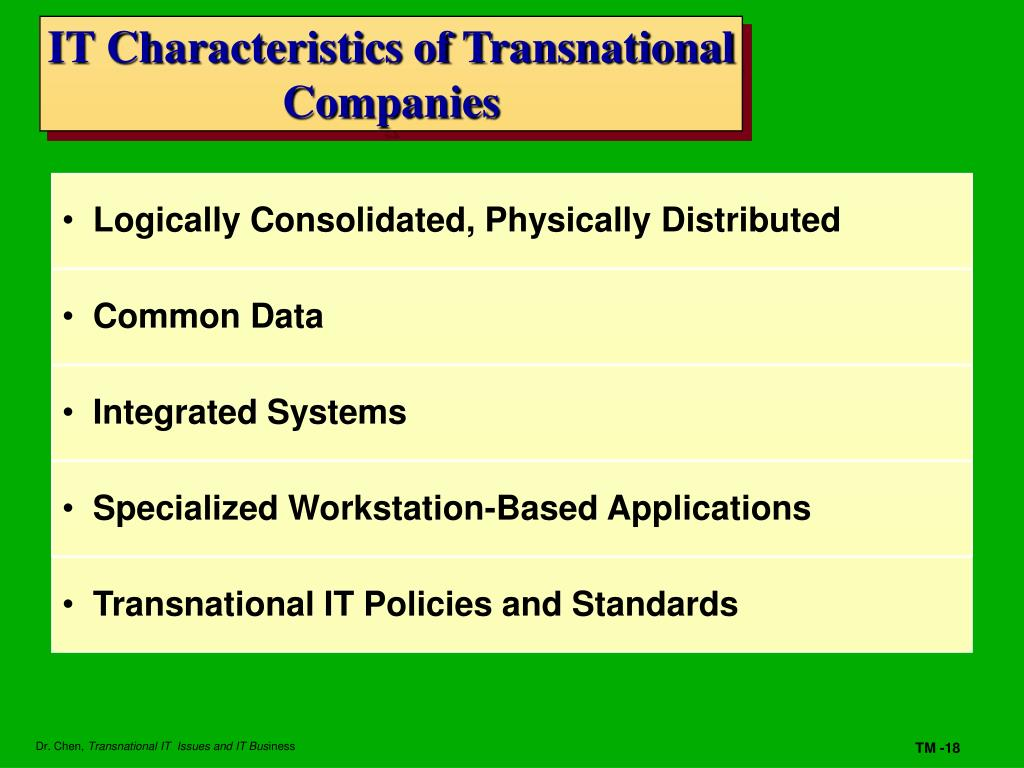 IT Characteristics of Transnational