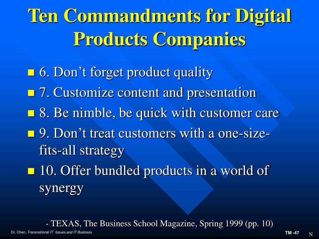 Ten Commandments for Digital Products Companies