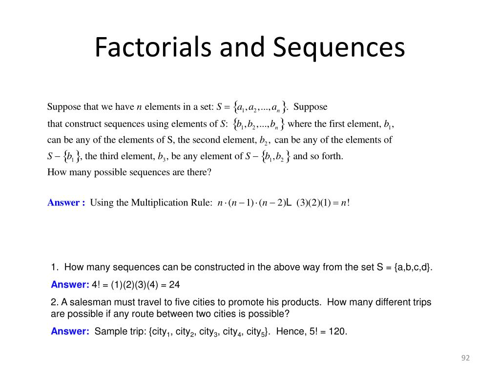 Factorials and Sequences