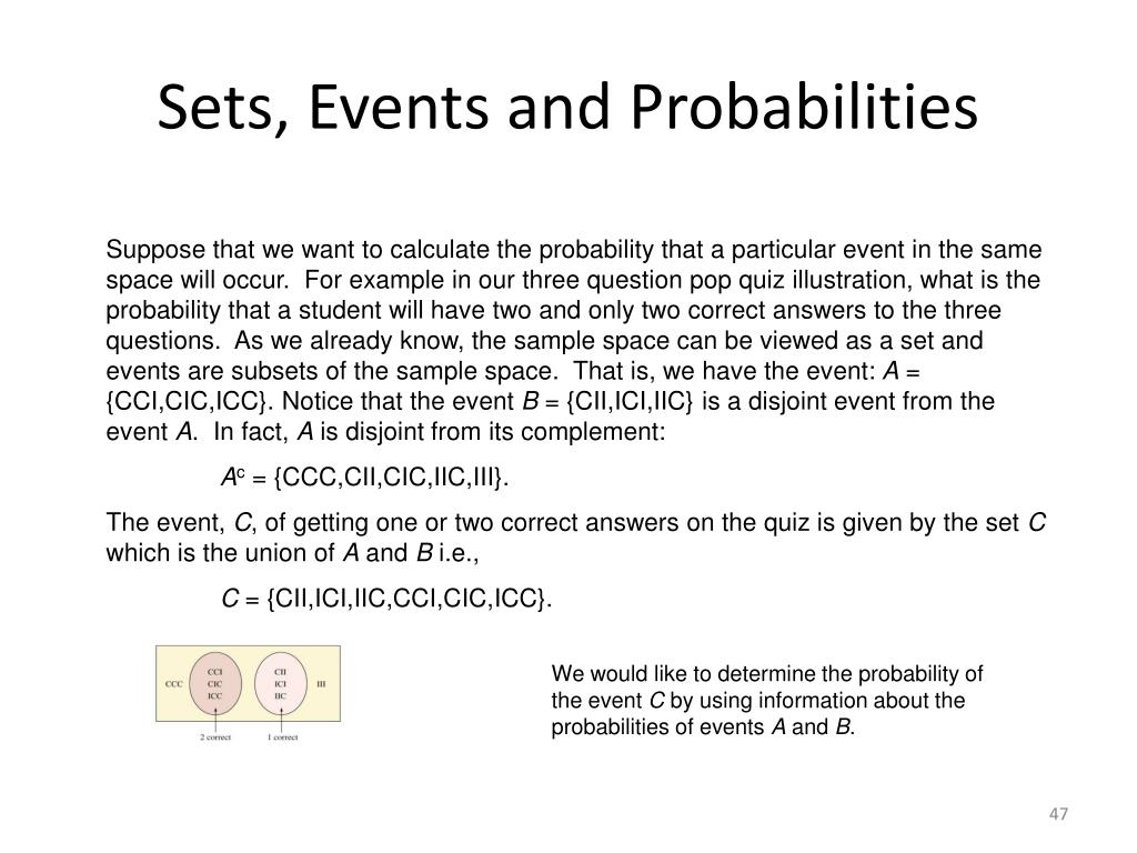 Sets, Events and Probabilities
