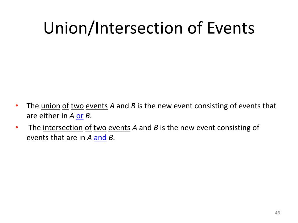 Union/Intersection of Events