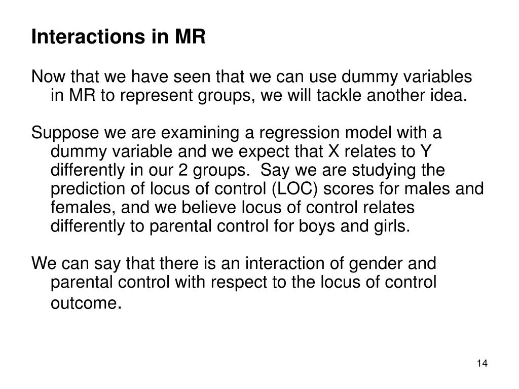 Interactions in MR