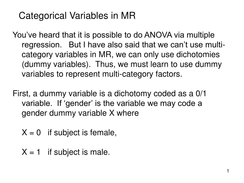 Categorical Variables in MR