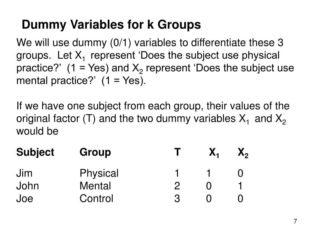 Dummy Variables for k Groups