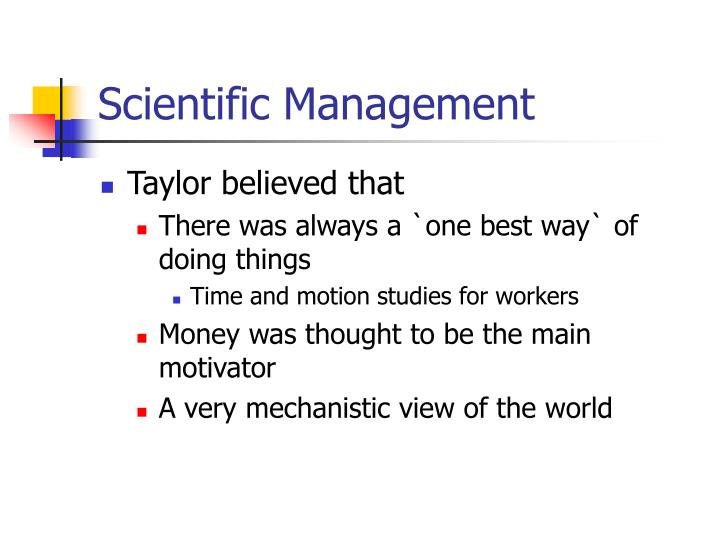 taylorism management1 Scientific management simplified scientific management can be divided into four principles: fordism an economic and social system based on industrial mass production created by henri ford who established the world's greateast automobile venture: the ford motor industry f w taylor henri ford to eliminate soldiering taylor studied.