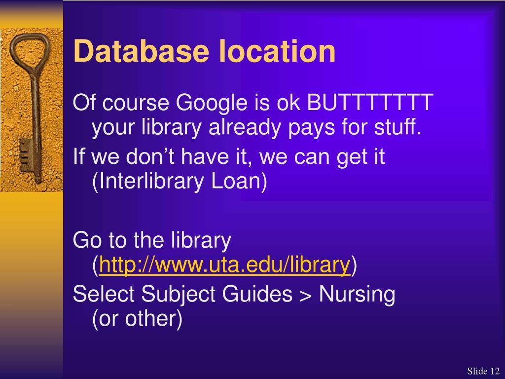 Database location