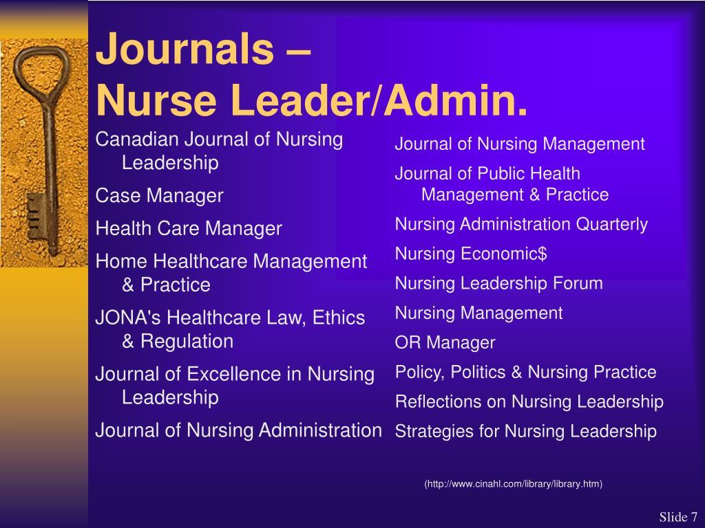 Canadian Journal of Nursing Leadership