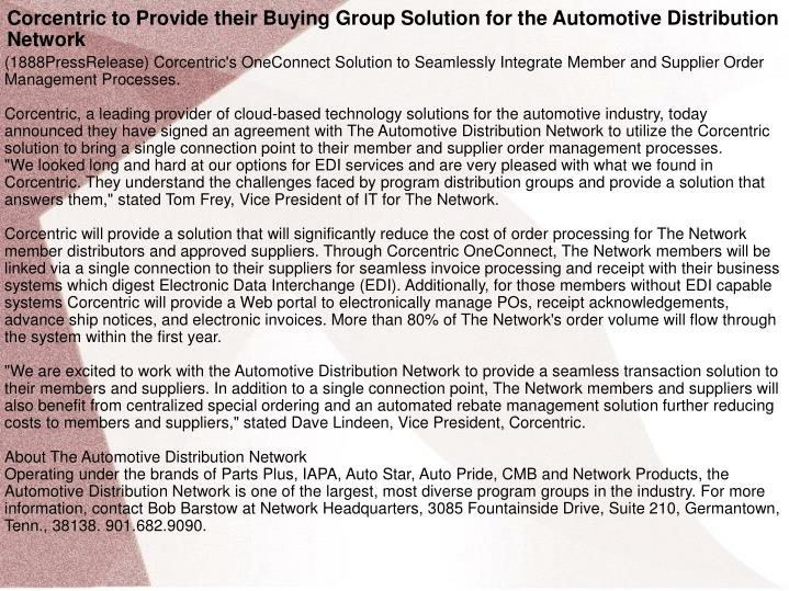 Corcentric to Provide their Buying Group Solution for the Automotive Distribution Network