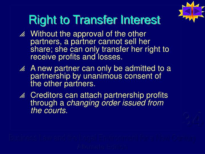Right to Transfer Interest