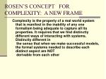 rosen s concept for complexity a new frame