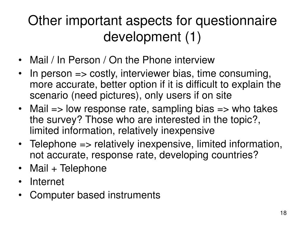 Other important aspects for questionnaire development (1)