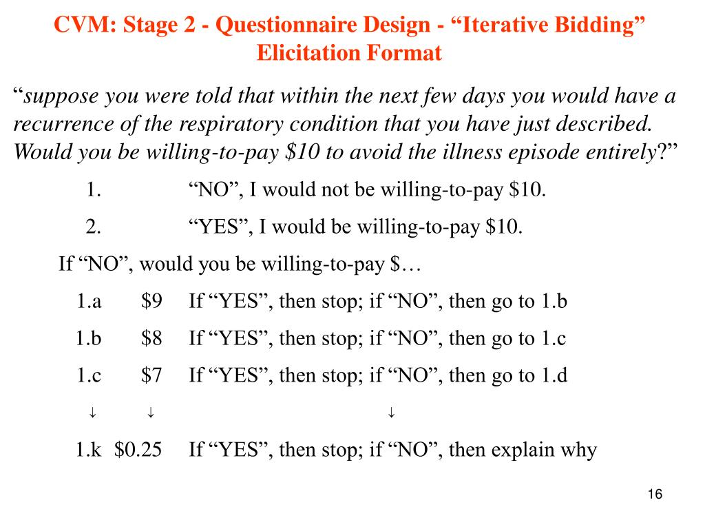 "CVM: Stage 2 - Questionnaire Design - ""Iterative Bidding"" Elicitation Format"