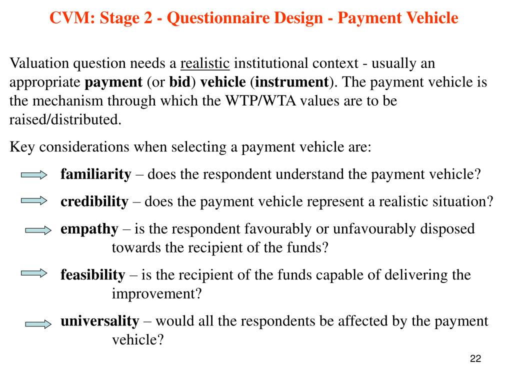 CVM: Stage 2 - Questionnaire Design - Payment Vehicle