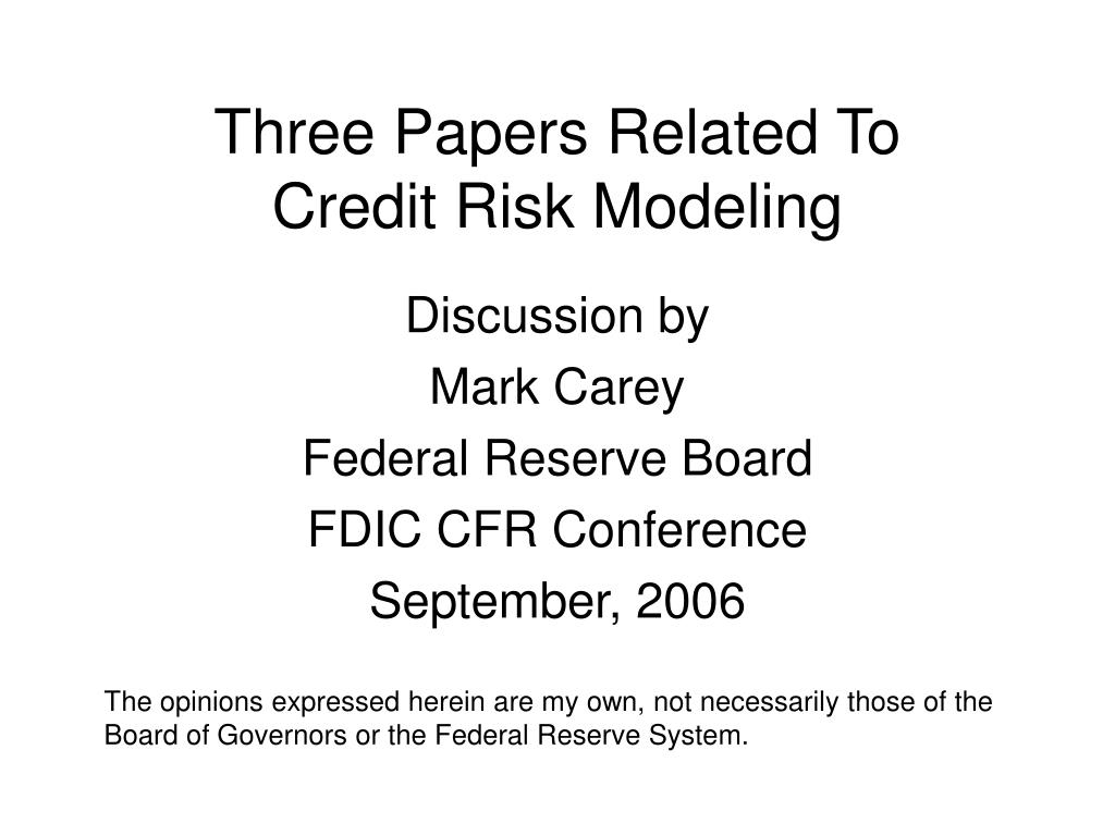 three papers related to credit risk modeling l.