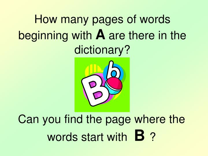 How many pages of words beginning with