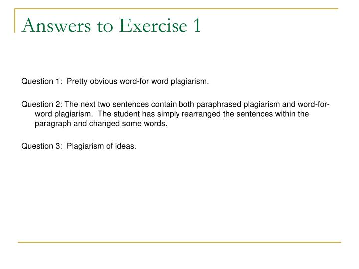 Answers to Exercise 1