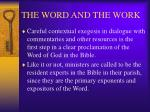 the word and the work21