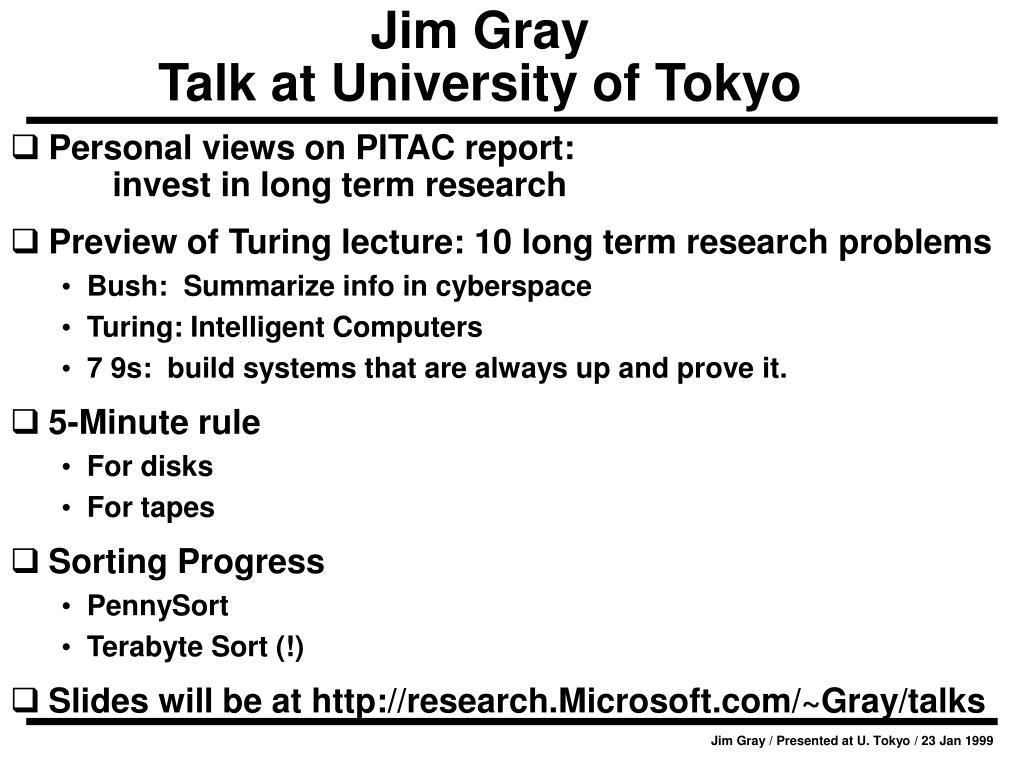 jim gray talk at university of tokyo l.