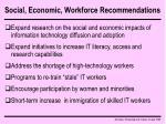 social economic workforce recommendations