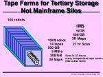 tape farms for tertiary storage not mainframe silos