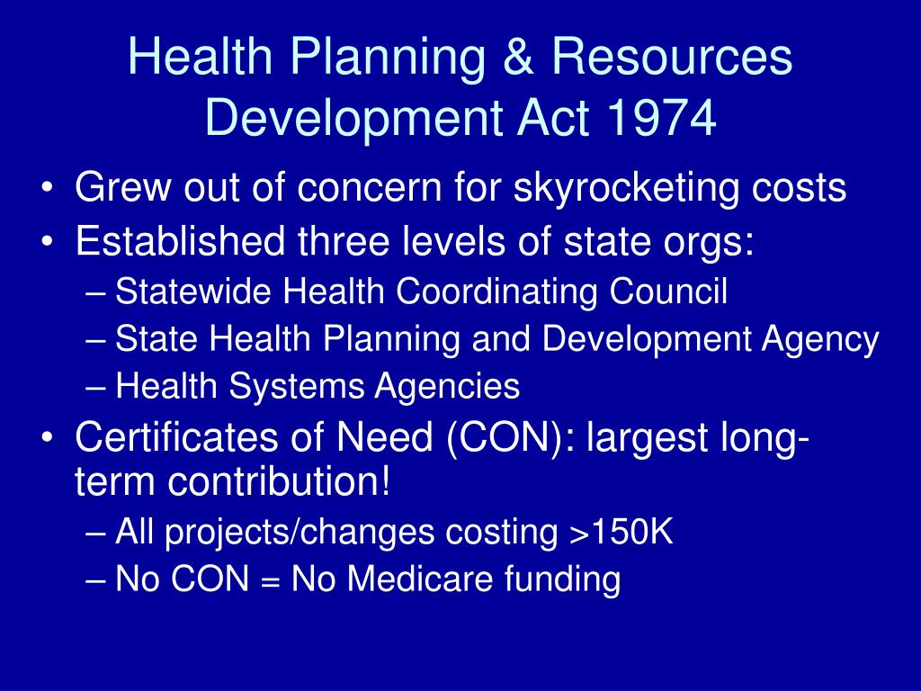 Health Planning & Resources Development Act 1974
