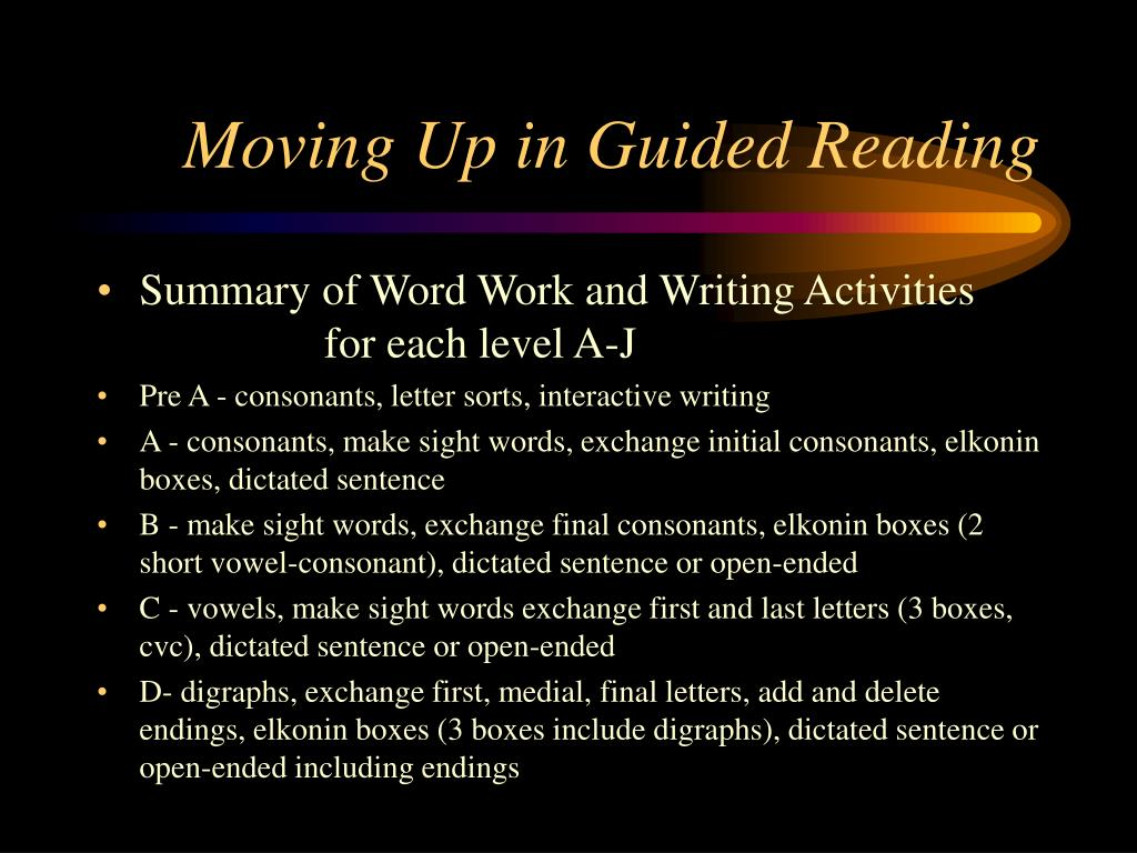 Moving Up in Guided Reading