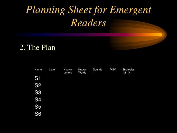 Planning sheet for emergent readers