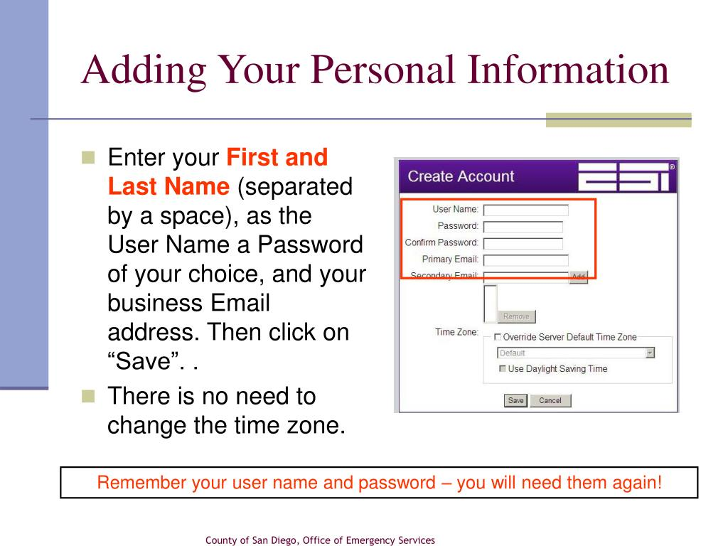 Adding Your Personal Information