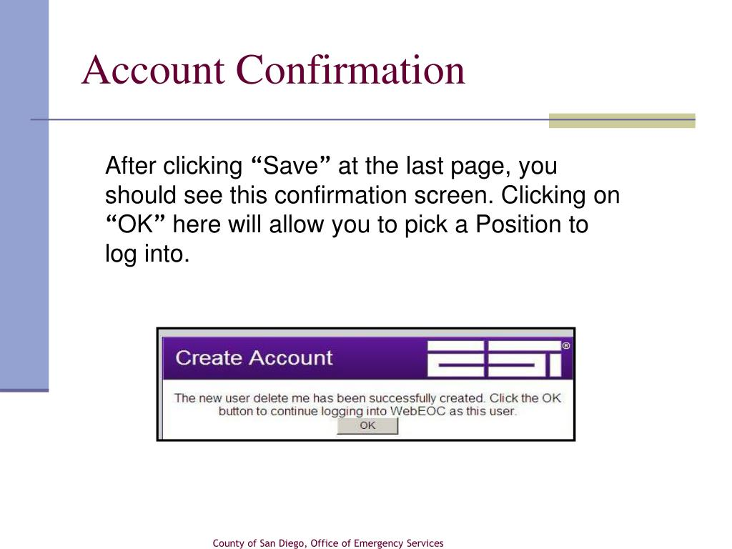 Account Confirmation