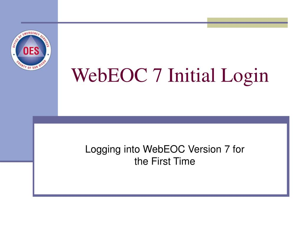 WebEOC 7 Initial Login