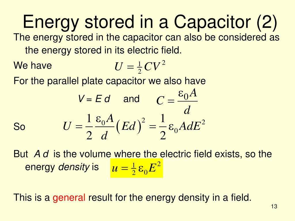 Energy stored in a Capacitor (2)