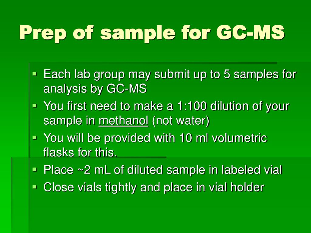 Prep of sample for GC-MS