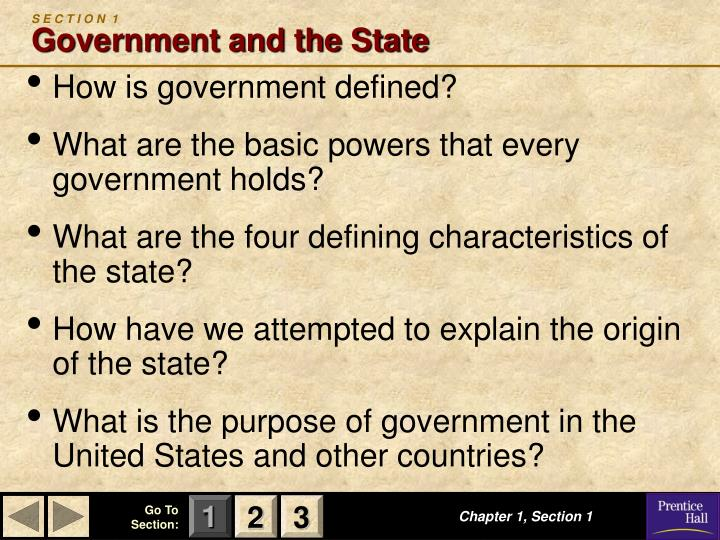 S e c t i o n 1 government and the state