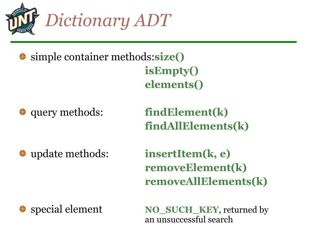 Dictionary ADT