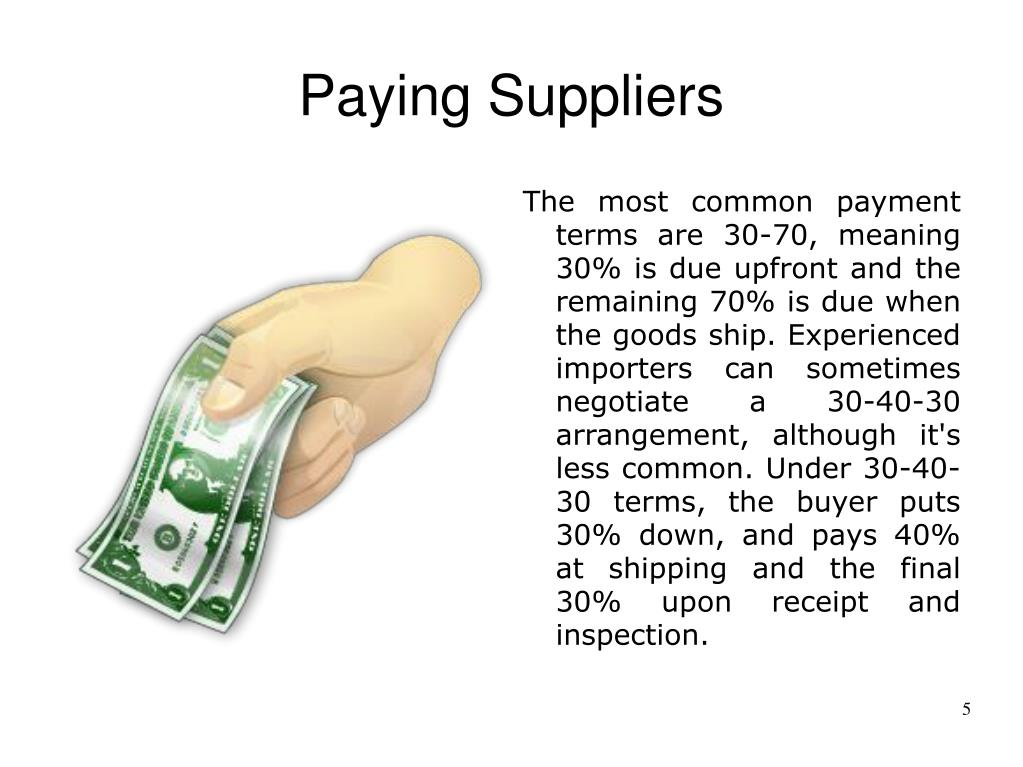 Paying Suppliers