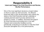 responsibility 6 s elect and support the chief executive and review his her performance