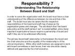 responsibility 7 understanding the relationship between board and staff