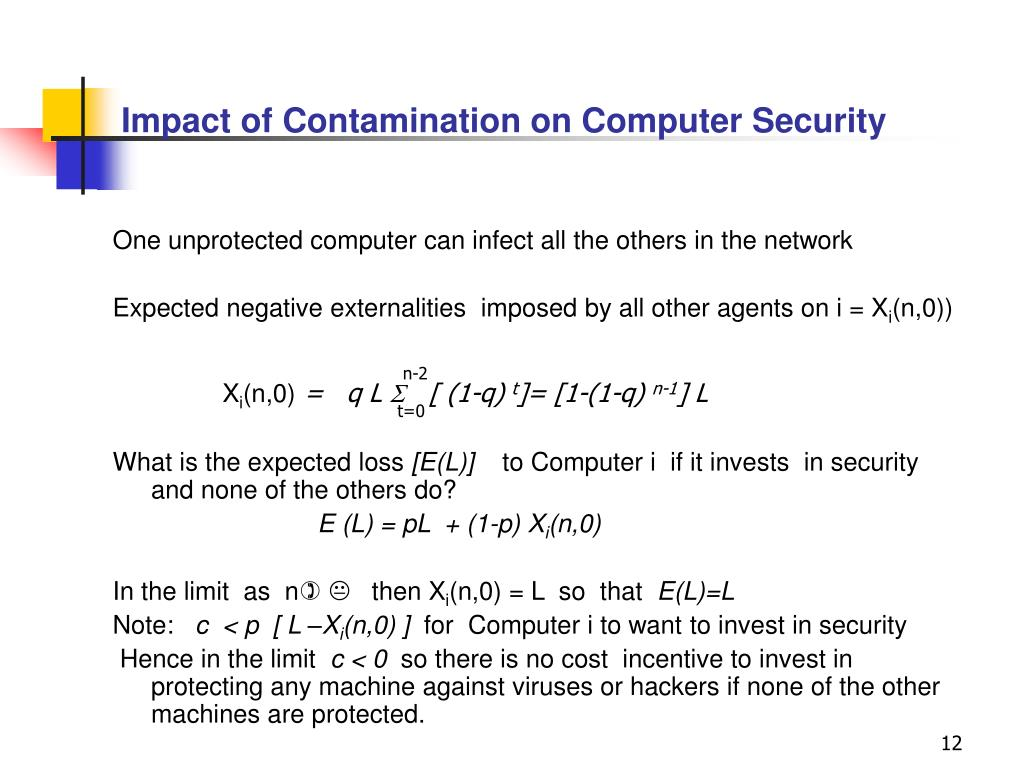 Impact of Contamination on Computer Security